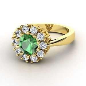 Fireworks Ring, Round Emerald 14K Yellow Gold Ring with