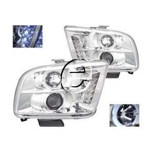 Ford Mustang Headlights Chrome Clear Halo Pro LED Headlights 2005 2006