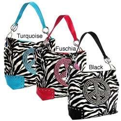 H2W Peace Sign Zebra Print Handbag  Overstock