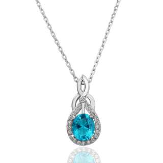 N103 18K white Gold plated blue gem Swarovski crystal Necklace