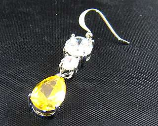 8mm x 11mm Yellow Citrine 18K White Gold Plated Earring