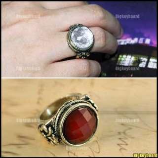 Fashion Retro Red Carved Rhinestone White Imitation Pearl Ring