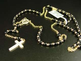 10k YELLOW GOLD ROSARY DIAMOND NECKLACE CHAIN ONYX