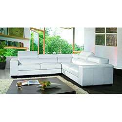 Marthena 3 piece White Leather Sectional Sofa