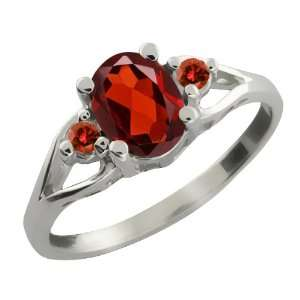 1.46 Ct Oval Red Garnet and Cognac Red Diamond Sterling