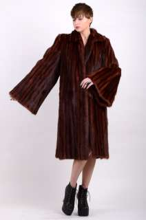 Vtg 50s Mahogany MINK FUR Full Length COAT Cape Jacket HUGE BELL