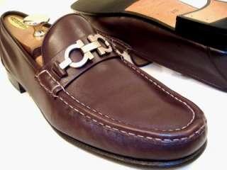 Salvatore Ferragamo Mens Brown SONIC Dress Shoes Gancini Bit Loafers