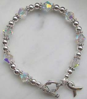 LUNG CANCER AWARENESS BRACELET silver swarovski crystal