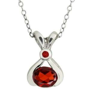 0.94 Ct Genuine Oval Red Garnet Gemstone 10k White Gold