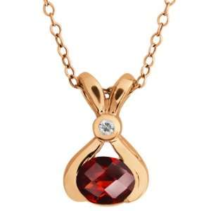 0.84 Ct Checkerboard Red Garnet and White Topaz 18k Rose