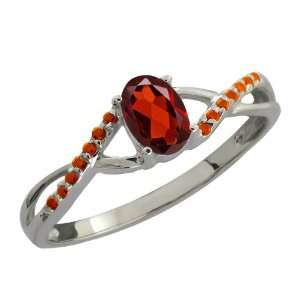 0.63 Ct Oval Red Garnet and Cognac Red Diamond 14k White