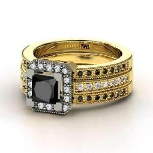 Va Voom Ring, Princess Black Diamond 18K Yellow Gold Ring with Diamond