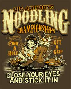 Mens Big Johnson Noodling Championship T Shirt NEW
