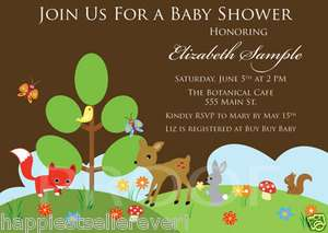 printed BABY SHOWER INVITATION FOREST BIRTHDAY Animals willow fox deer