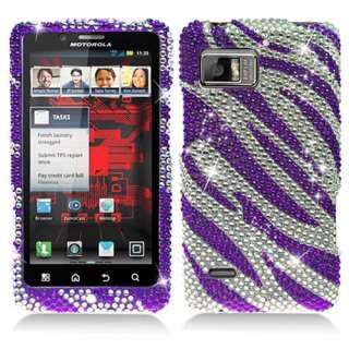 Motorola Droid Bionic XT875 Verizon Purple Zebra Bling Hard Case Cover