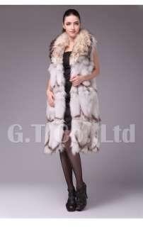 0223 Fox Fur long style Charming women Vest waistcoat gilet sleeveless