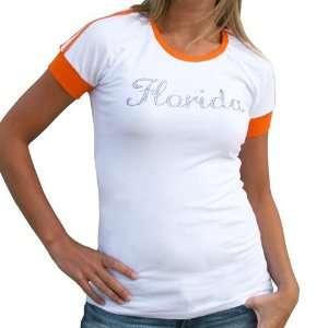 NCAA Florida Gators Ladies White Orange Emily Premium T shirt