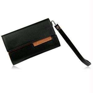 BlackBerry OEM Universal Leather Folio Pouch   Black with