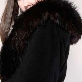 VINTAGE LILLI ANN FOX FUR COAT Vtg Black Wool Dress Jacket Collar
