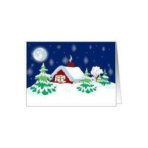 Winter Cottage Christmas Card Card