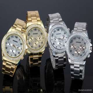 Ladies Womens Fashion Silver Golden Design Crystals Stainless Steel