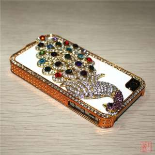 Colorful Peacock Rhinestone Bling Back Case Cover For iPhone 4S 4G 4