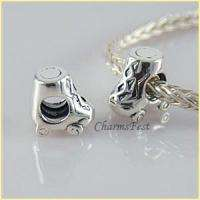 925 Solid Sterling Silver Roller Skate Bead fits European Charm