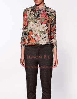 Women Retro Rayon Floral Printed Long Sleeves Collared Button Down