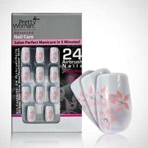 Pretty Woman Decorated Jewel Nails   White with Pink Flower Design