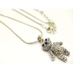 Teddy Bear Charm 3d Crystal Necklace