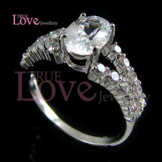 18K White Gold Plated Elegant Engagement CZ Zircon Ring RA9424 Free