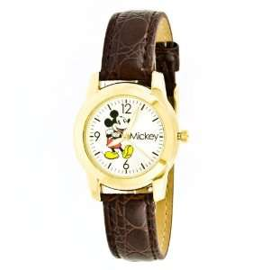 Disney Womens Mickey Mouse Brown Strap Watch Everything