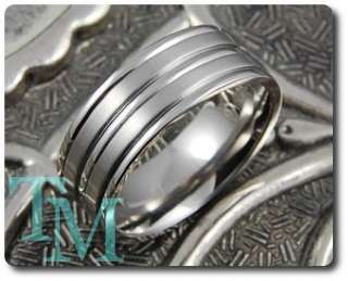 8MM Titanium Brushed Grooved Mens Ring Wedding Band