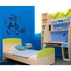 ELEPHANT WITH CAR BABY ROOM NURSERY WALL VINYL STICKER DECALS