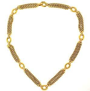 VAN CLEEF & ARPELS 18K YELLOW GOLD & DIAMOND NECKLACE. 30 DIAMONDS