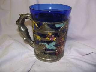 Very RARE Japanese Blue Glass Enamel on Silver Plate Sailors Tankard