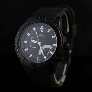 Trendy Mens Black Big Dial Rubber Band Wrist Watch Hot