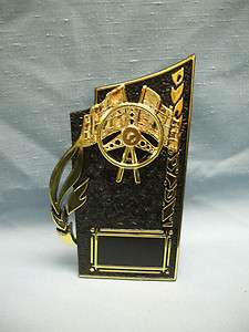 Award racing flag with steering wheel trophy party favors black