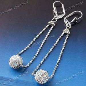 2x 10mm AB White Crystal Pave Disco Fimo Ball Rhinestone Ear Earring