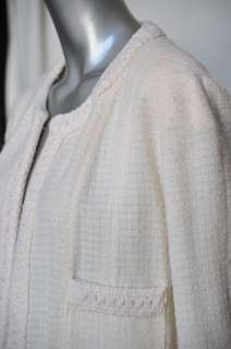 CHANEL BOUTIQUE Creamy Beige Wool Check Tweed Blazer/Jacket+Long Skirt