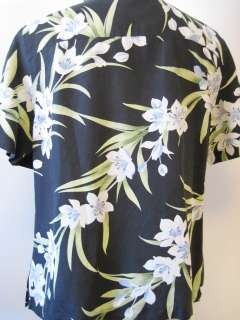 Tommy Bahama Black & Blue Tropical Flower Silk & Linen Camp Shirt