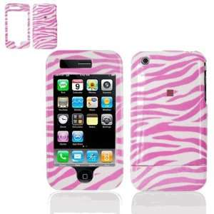 Snap On Faceplate Cover Case for Apple iPhone 3G Pink/White Zebra
