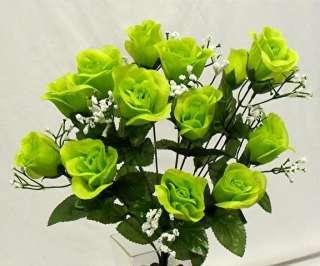 GREEN Long Stem Silk Flower Bush Wedding Bridal Bouquet NO DEW