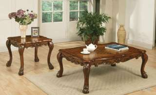 2PC LEDEUX ANTIQUED CHERRY WOOD COFFEE END TABLE SET