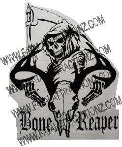 Bone Reaper Deer Skull s3 Vinyl Sticker Decal Hunt Buck whitetail grim