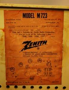 Vintage ZENITH AM/FM Radio model M723 circa 1959 works & s great
