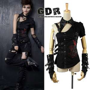 PUNK VISUAL KEI RAVE ROCK Cosplay Y291 TOP +GLOVE S XL