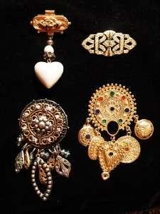 VTG Lot Victorian Art Deco Inspired Brooch Gold Silver Tone Dangling