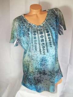 New plus v neck green blue abstract rhinestones thin lightweight tee t