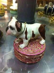 Porcelain Hinged Trinket Box Figurine Statue Bulldog Dog 2